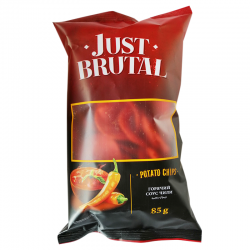 Чіпси картопляні Just Brutal зі смаком гарячого соусу чилі 85 г