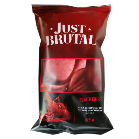 Чіпси картопляні Just Brutal зі смаком качки з соусом з дикої брусниці 85 г