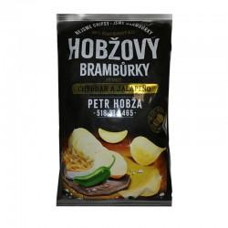 Чіпси картопляні Hobžovy зі смаком сиру чеддер та Халапеньо 150 г