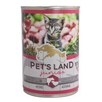 Корм Pet's land cat junior вологий зі смаком яловичини та баранини 415г