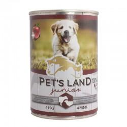 Корм Pet's land dog вологий junior зі смаком яловичини та баранини 415г