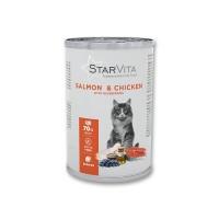 Вологий корм Starvitа 400 г для котів, з лососем та куркою